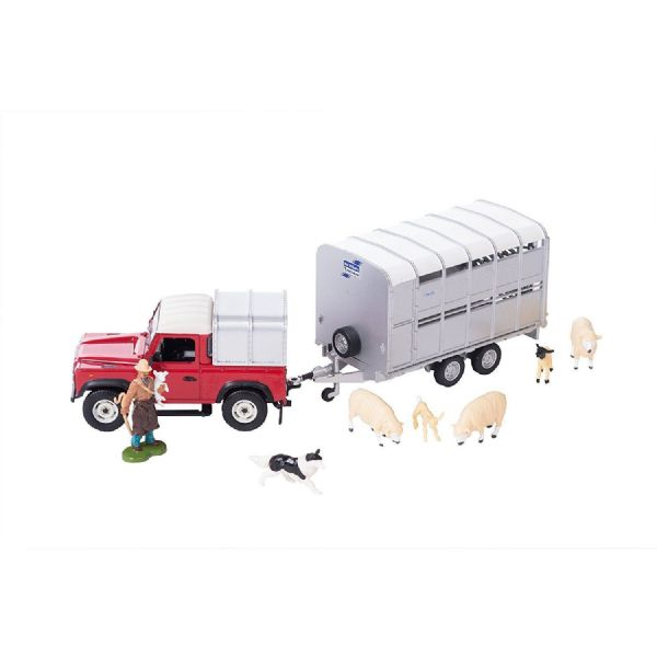Tomy Brritains Land Rover and Livestock Trailer Set